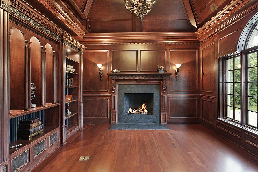 elegant library in luxury home