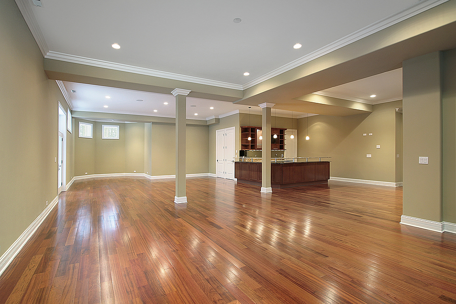 large basement with kitchen
