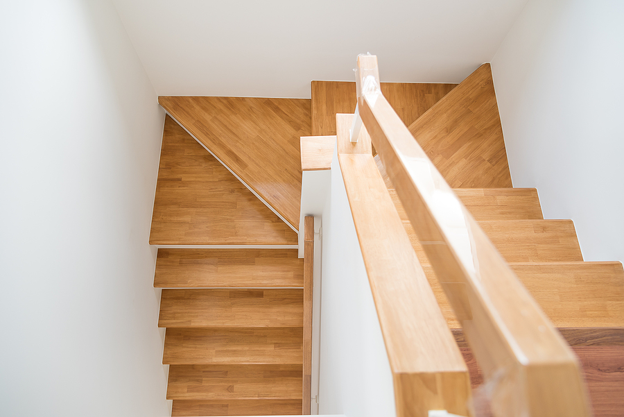 wooden stairs in the house.