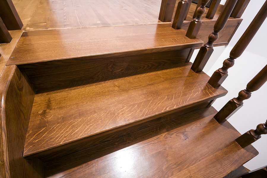 brown wooden oak stairs
